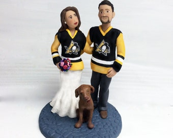 Hockey Fan Bride and Groom Wedding Cake Topper from Your Ideas and Photos