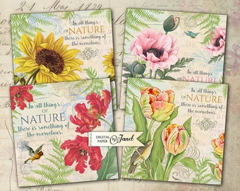 Nature Coaster - 4 x 4 inch - set of 4 cards - digital collage sheet
