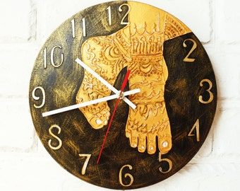 The Golden mehendi feet Wall Clock, wood clock, white home decor, kids gift, for Office, Industrial style, India souvenir.