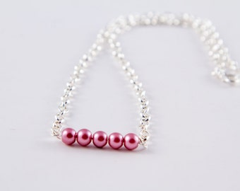 Mauve Pink Bead Bar Necklace with Chain, Glass Pearl Minimalist Jewelry, Layering Necklace, 18 inch, 20 inch and 22 inch Lengths or as a Set