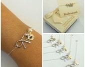Free Shipping, Set of 6 personalized bow bracelets.Personalized sterling silver bow bracelet., monograme bracelet