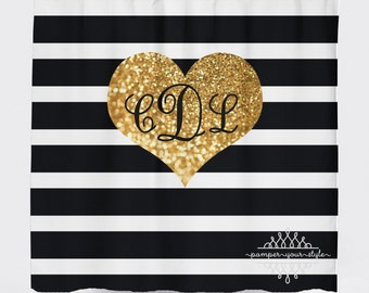 Black And Gold Personalized Shower Curtain
