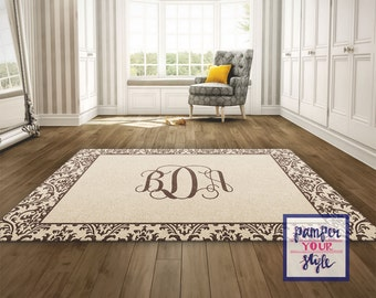 Tan and Brown Custom Area Rug - Personalized Living Room Rug - Monogrammed Bedroom Rug - Custom Design Rug