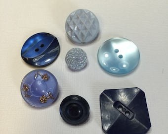 Vintage assorted blue buttons