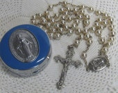 Vintage Faux Pearl Rosary with Sterling Crucifix & Medallion France in Enameled Case