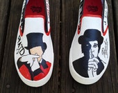 Panic at the Disco Hand Painted Canvas Shoes  Fan Art Tribute Brendon Urie PATD Order your custom size kids - adult