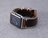 Horween Leather Apple Watch Band: Brown Cordovan Leather Strap, Apple Watch Adapters, Slide Hardware