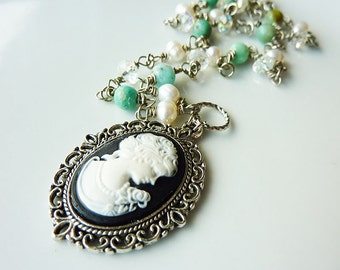 Black Lady Cameo Long Pearl, Crystal and Teal Green Amazonite Necklace Pendant