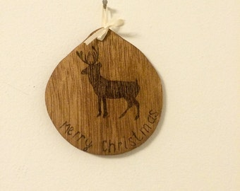 Wooden Christmas ornament, wood burned ornament, Merry Christmas ornament, deer ornament, keepsake ornament