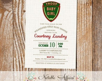 Camping Baby Shower invitation - Troop Beverly Hills inspired campout invitation - Smores baby shower - no color changes