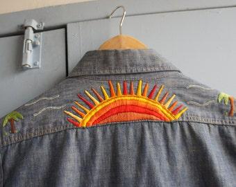 PARADISE SUNSET 1970's Men's Custom Embroidered Denim Shirt