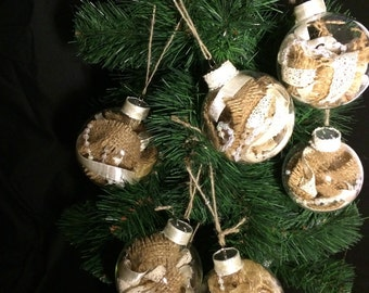 8 Burlap and lace ornaments