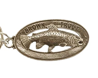 Pewter ~ Brown Trout Keychain ~ FK009