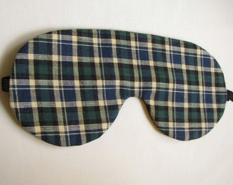 Green Plaid Sleeping Mask, Adjustable Plaid Sleep Mask, Sleeping Eye Mask, Comfortable Plaid Sleep Mask