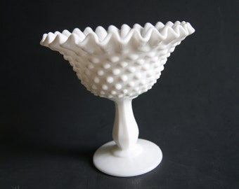 Vintage 1970s Fenton Milk Glass Hobnail Footed Compote With Embossed Fenton Mark