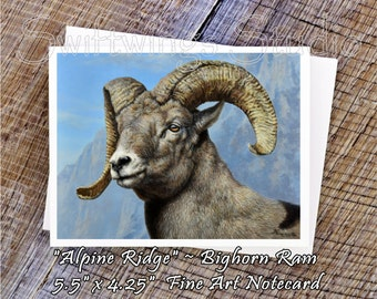 Wildlife Note Cards - Bighorn Sheep Note Card - Bighorn Sheep Print - Animal Note Cards - Wildlife Art - Wildlife Stationary