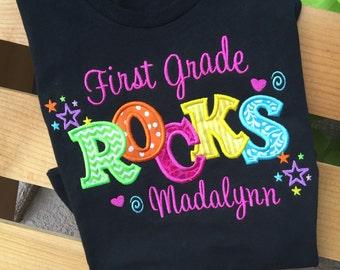 CHILD First Grade Rocks personalized shirt! First grade shirt, ready for school, back to school, first grade, 1st grade, personalized