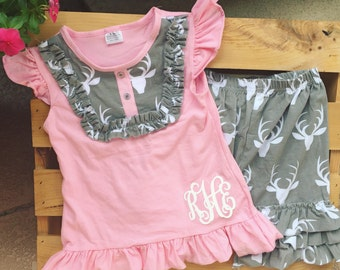 Pink and grey antler shorts set, pink and grey outfit, antler, girls outfit, monogram, embroidery, antler outfit
