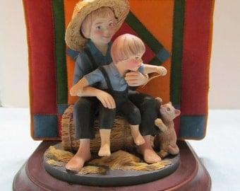 "Willitt's Amish Heritage ""Eli & Benjamin"" Figurine and Quilt"