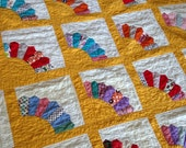 Vintage 1950's 1960's Scrappy Patchwork Fan Quilt HAND QUILTED Bright Cheerful Full Size / Picnic Blanket