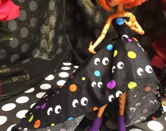 Colorful Polka Dot and Eye Print High Low Gown for your Monster High Girl Doll