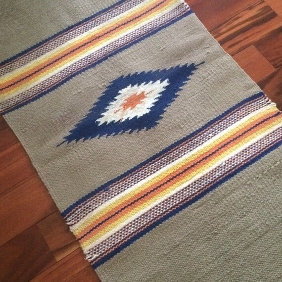 Saddle Blanket Woven Wool Rug Mexican Floor Runner Woven