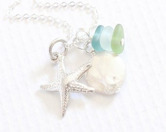 """Sea Glass Jewelry, Coin Pearl """"Sea Glass Necklace"""" Starfish Charm Necklace. Beach Glass Summer Jewelry"""