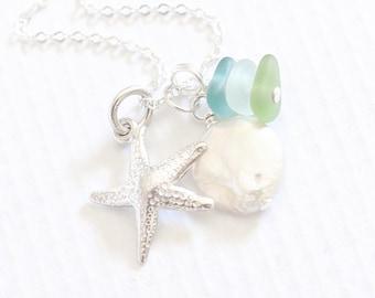 "Beach Glass Starfish Necklace Coin Pearl ""Sea Glass Jewelry"" Starfish Charm Necklace. Beach Glass Jewelry"