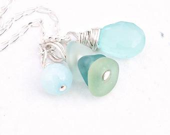 "Genuine Sea Glass Jewelry, Aqua Chalcedony Gemstone ""Sea Glass Necklace"", Sterling Silver Beach Glass Necklace, Teal and Aqua Beach Jewelry"