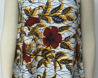 African Print Shift Dress.  Summer Dress. Sleeveless. Racer Shoulders. African Prints.
