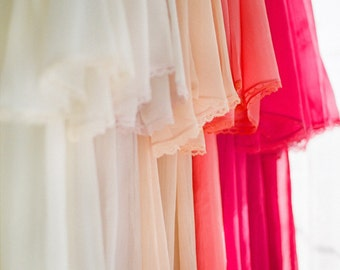 An Ombre wedding. 4 custom lined and lace trimmed chiffon robes in a knee length. Lace bridesmaids robes Lace bridal robe. Wedding robe.