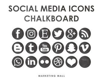 Chalkboard Social Media Icons, Social Media Buttons, Black Social Icons, Blog Icons, Website Branding, Blog Buttons, Chalkboard Buttons