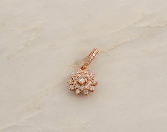 Diamond Flower Cluster Pendant in 14K Rose Gold