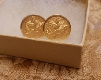 Vintage fox mask design gold plated button earrings with clip/post back 3/4 inch