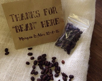Wedding Coffee Favor Bags, Thanks for Bean Here Custom Wedding Favors,  Recycled Brown Paper Personalized Printed Sack