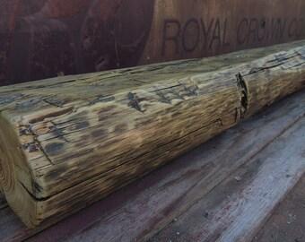 "Reclaimed Hand Hewn Barn Beam 96"" x 8"" x 5"" - Fireplace Mantel - Rustic Mantle Shelf"