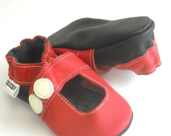 soft sole baby shoes handmade infant gift girl sandal red white 18 24 Lederpuschen chaussons chaussurese fille bebes cuir ebooba SN-13-R-M-4