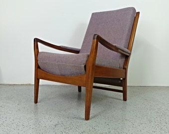 mid century Danish modern Cintique grey tweed lounge chair