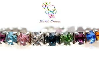 Rainbow Bracelet, Multi Color Bracelet, Tennis Bracelet, Crystal Bracelet, Colorful Bracelet, Gift for Her, Anniversary, Colorful Jewelry