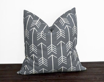 10 Sizes Available - Grey and White Arrow Pillow Cover - Neutral Pillow Covers - Cool Gray and White Arrows