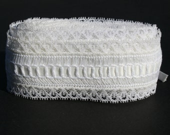 Vintage White Lace Trim, Garter Lace Trim, Wide Romantic Trim Lace,4 yards plus