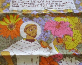 Vintage Tea Towel - Saint Fiacre - Patron Saint of Gardeners - Linen Tea Towel