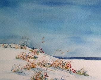 beach flowers ~ hand painted original watercolor seascape