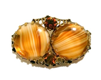 West Germany Amber Brooch & Clip on Earring Set