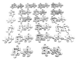 Twenty (20) Pair of Best Friends Pewter Puzzle Piece Charms - 5055