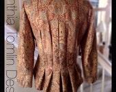 Renaissance Jacket/lace applique/peplum/wearable art/heirloom quality/womens/pleated back/silk lined/size 6-8/front closure/lace trim