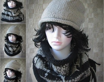 Knitted hat scarf set Knitted gray scarf hat Knitted cowl Knit boho scarf Slouchy hat Knitted set Knit winter hat Infinity scarf