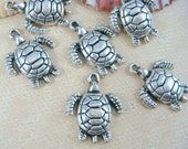 Turtle Charms - Silver Turtle Charm - 24mmx19mm - Qty. 8