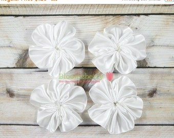 "July Sale 12% OFF 2"" Satin Pinwheels Flowers - White Color - Unfinsihed - White Satin Flowers - White Pinwheels Flowers  -Hair Accessories S"