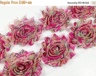 "July Sale 12% OFF Sale 2.5""  PRINTED Shabby Rose Trim- Hot Pink Pasiley - Hot Pink Shabby Rose Trim - Printed Shabby Rose Trim -Hair Accesso"